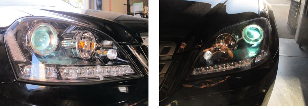 w164 black led headlights